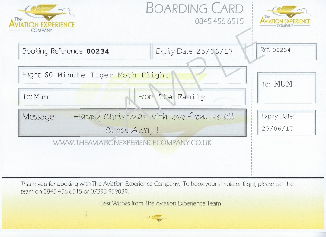 Aviation Experience Gift Certificate