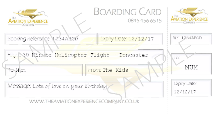 SAMPLE Boarding Card Gift Certificate Cropped